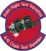 514th Flight Test Squadron A-10衝突実験用ダミー